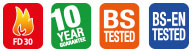 FD30/60, 10 year guarantee, BS Tested & BS-EN Tested