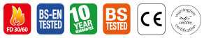 FD30/60, BS-EN Tested, 10 year guarantee, BS Tested, CE Marked, Certifire Approved